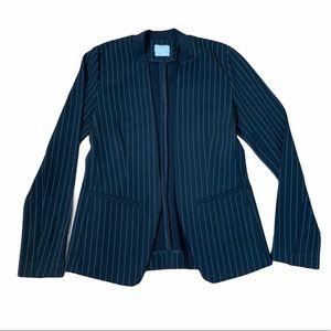 DKNY Pinstripe Black Fitted Blazer Jacket